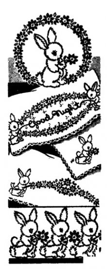 AB7404 Goodnight Bunnies Rabbits Floral Baby Border