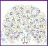 LW827 Classy Peacock Designs for Towels Pillow Case etc