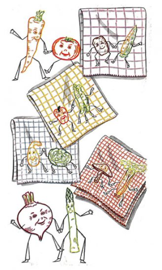SK2168 Crazy Vegetable Couples for Dish Towels