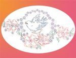 LW980 Floral Wreath Blue Birds