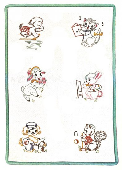 V798B Busy Animal Nursery Quilt Blocks Sing Paint Swim