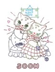 AB7315 Vintage Embroidery Transfer Kitty Cat Romance