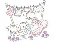 SP-135 7 Baby Bunnies & Mom Day of the Week Designs