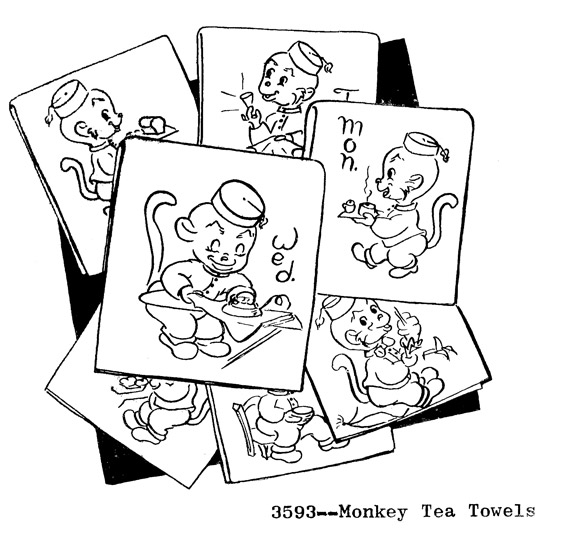RL3593 Animated Monkey Day of the Week Tea Towel Design - Click Image to Close