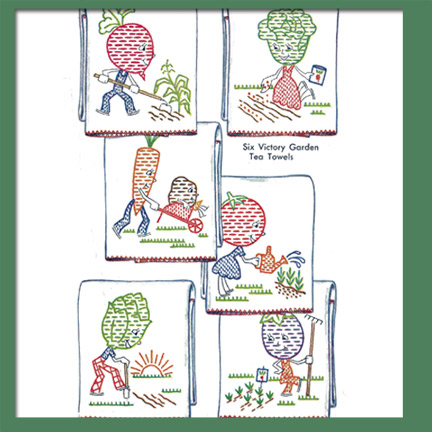 M1219 6 Victory Garden Tea Towel Designs