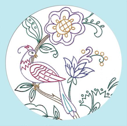 V60D Floral Bird Crewel Jacobean Elizabethan [V60D] Stitchin Simple Crewel Embroidery Patterns