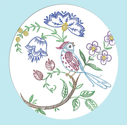 V2003axl Striking Floral Bird Crewel Jacobean Elizabethan